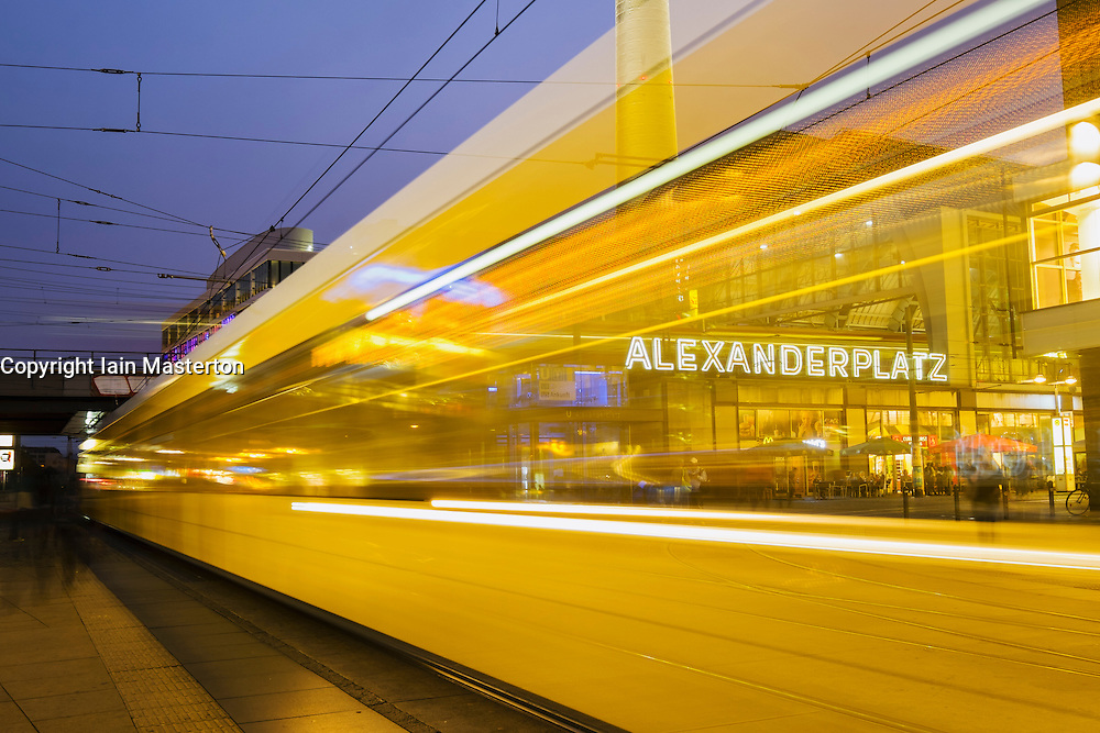 Night view of Tram at Alexanderplatz in Mitte Berlin Germany