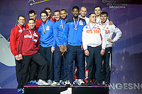 Podium Equipe Allemagne / Equipe France / Equipe Russie  - 03.05.2015 - Challenge SNCF Reseau - Coupe du Monde Epee messieurs<br />Photo : Andre Ferreira / Icon Sport