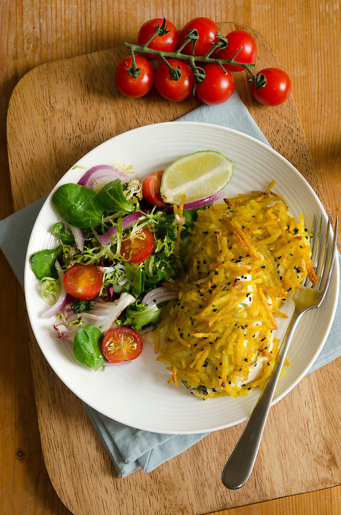 Chicken Breast With Paneer Cheese And Curried Potatoes
