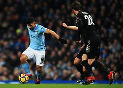 Sergio Aguero of Manchester City takes on Christian Fuchs of Leicester City - Mandatory by-line: Matt McNulty/JMP - 10/02/2018 - FOOTBALL - Etihad Stadium - Manchester, England - Manchester City v Leicester City - Premier League