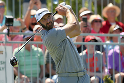March 23, 2019 - Palm Harbor, FL, U.S. - PALM HARBOR, FL - MARCH 23: Dustin Johnson tees off during the third round of the Valspar Championship on March 23, 2019, at Westin Innisbrook-Copperhead Course in Palm Harbor, FL. (Photo by Cliff Welch/Icon Sportswire) (Credit Image: © Cliff Welch/Icon SMI via ZUMA Press)