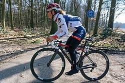 Gabrielle Pilote Fortin looks forward to the smooth tarmac before the cobbles start again  - Ronde van Drenthe 2016, a 138km road race starting and finishing in Hoogeveen, on March 12, 2016 in Drenthe, Netherlands.