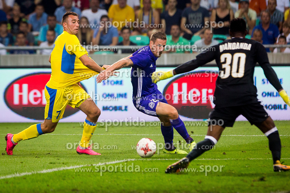 Ivan Firer of NK Domzale and Gregory Sertic of Olympic Marseille during football match between NK Domzale and Olympique de Marseille in First game of UEFA Europa League playoff round, on August 17, 2017 in SRC Stozice, Ljubljana, Slovenia. Photo by Ziga Zupan / Sportida