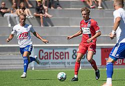 Valdemar Holze (FC Helsingør) under træningskampen mellem FC Helsingør og HIK den 1. august 2020 på Helsingør Ny Stadion (Foto: Claus Birch).