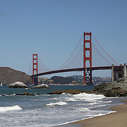 The Golden Gate bridge is seen in the background of Baker Beach in San Francisco, California on Sunday, August 24, 2014. (AP Photo/Alex Menendez)