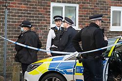 © Licensed to London News Pictures 06/02/2021.        Croydon, UK. Police have put a large cordon in place at the murder scene in Wisbeach Road. A man has been killed and ten others have been stabbed with two in a life threatening condition in hospital after a night of knife violence in Croydon, South London. Photo credit:Grant Falvey/LNP