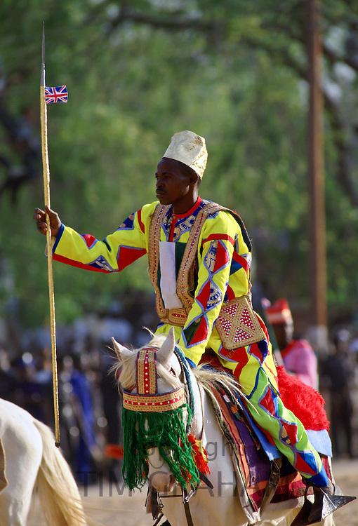 Man riding a decorated horse at a Durbar, in Maidugari Nigeria, Africa