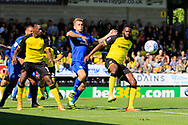 Burton Albion midfielder Hope Akpan (21) clears a corner during the EFL Sky Bet Championship match between Burton Albion and Cardiff City at the Pirelli Stadium, Burton upon Trent, England on 5 August 2017. Photo by Richard Holmes.