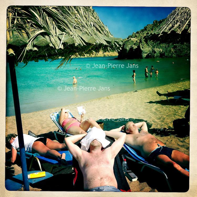 Kreta, Vai , 21 juli 2013.<br /> Strand bij  het plaatsje Vai  in het uiterste Noord Oosten van Kreta.<br /> Beach near the town of Vai in the north east of Crete.