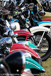 Bikes lined up for the panorama portrait in Aune Osborne Park in Sault Sainte Marie, the site of the official start of the Cross Country Chase motorcycle endurance run from Sault Sainte Marie, MI to Key West, FL. (for vintage bikes from 1930-1948). Thursday, September 5, 2019. Photography ©2019 Michael Lichter.