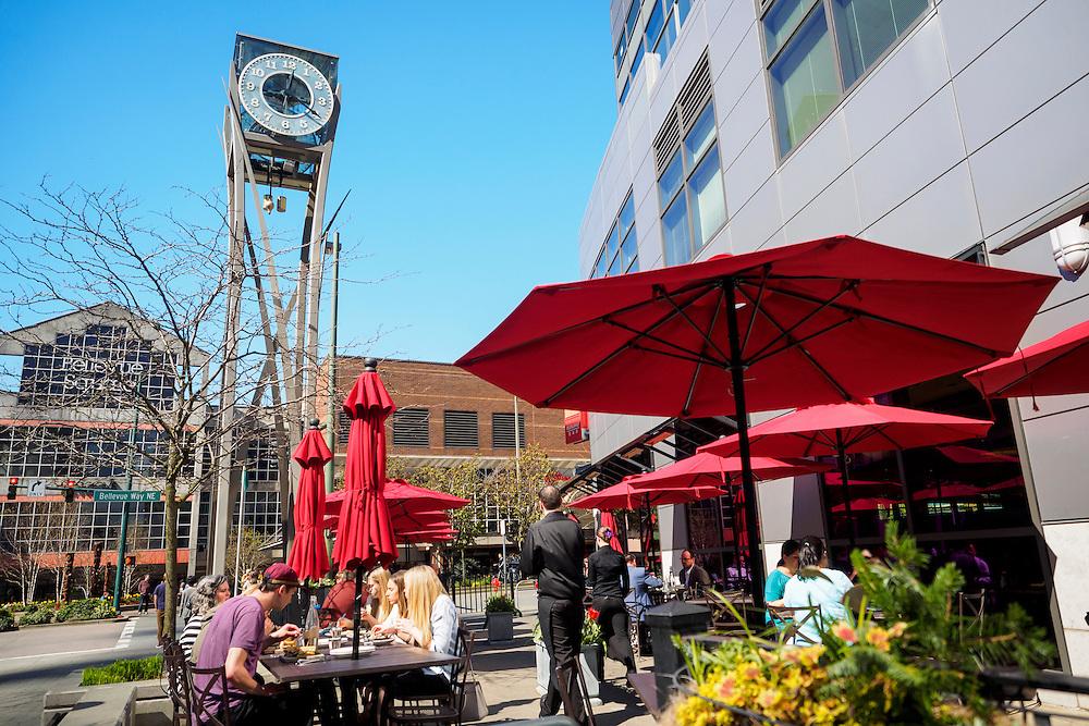 United States, Washington, Bellevue. Sidewalk Cafe in downtown Bellevue near Bellevue Square.