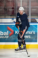 KELOWNA, BC - SEPTEMBER 23:  James Neal #18 of the Edmonton Oilers warms up with the puck at Prospera Place on September 23, 2019 in Kelowna, Canada. (Photo by Marissa Baecker/Shoot the Breeze)