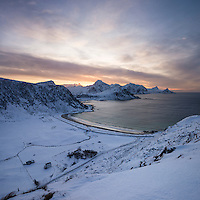 View over Vik beach in winter, Vestvågøy, Lofoten Islands, Norway