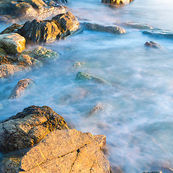 Morning light on the rocks at Odiorne Point State Park in Rye, New Hampshire.