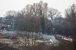 Harefield, UK. 13th February, 2021. A long-reach tree felling vehicle is used to fell some of the last remaining trees alongside Harvil Road in the Colne Valley for the HS2 high-speed rail link. Four anti-HS2 activists had been evicted from a roadside camp and three from nearby trees by bailiffs acting for HS2 Ltd during the night.