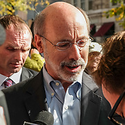 Lancaster, PA, USA - November 3, 2014: Democrat Candidate Tom Wolf speaks with local media while making a campaign stop the day before he was elected Governor of Pennsylvania.