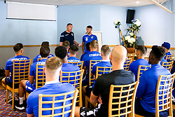 Bristol Rovers manager Graham Coughlan with Ollie Clarke of Bristol Rovers during the first day of preseason training ahead of the 2019/20 Sky Bet League One Season - Mandatory by-line: Robbie Stephenson/JMP - 27/06/2019 - FOOTBALL - The Lawns - Bristol, England - Bristol Rovers Return for Preseason Training
