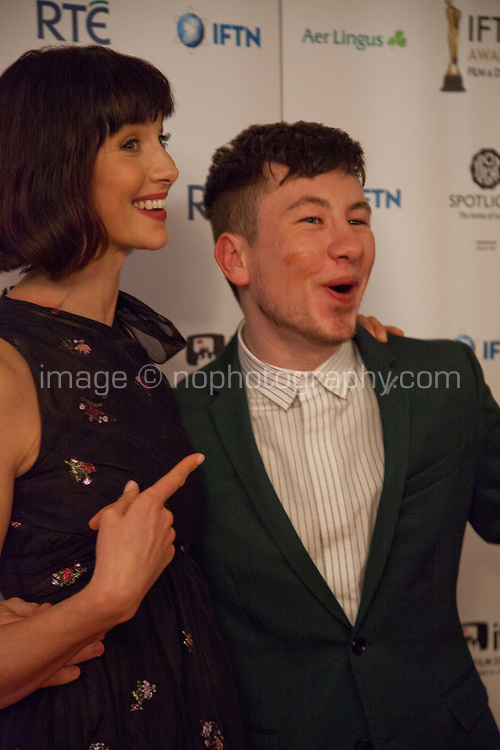 Barry Keoghan, awarded Best Supporting Actor for the film The Killing of a Sacred Deerwith Caitriona Balfe, awarded Best Actress winner for Outlander at the IFTA Film & Drama Awards (The Irish Film & Television Academy) at the Mansion House in Dublin, Ireland, Thursday 15th February 2018. Photographer: Doreen Kennedy