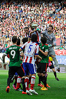 Atletico de Madrid´s Diego Godin and Guilherme Siqueira and Athletic Club´s goalkeeper Iago Herrerin during 2014-15 La Liga match between Atletico de Madrid and Athletic Club at Vicente Calderon stadium in Madrid, Spain. May 02, 2015. (ALTERPHOTOS/Luis Fernandez)