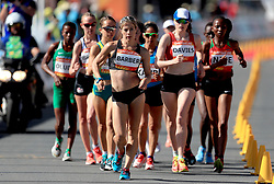 New Zealand's Alana Barber takes an early lead in the Women's 20km Race Walk Final at Currumbin Beachfront during day four of the 2018 Commonwealth Games in the Gold Coast, Australia.