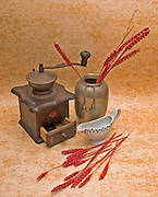 Dry flowers and coffee mill