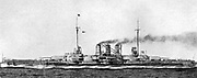 SMS 'Thuringen', German dreadnought battleship of the Heligoland class. Undamaged at the naval Battle of Jutland, 31 May 1916. Used as target practice by the French after the war. Scrapped in 1924.
