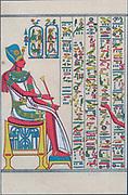 Egyptian hieroglyphs, Chromolithograph c1890.