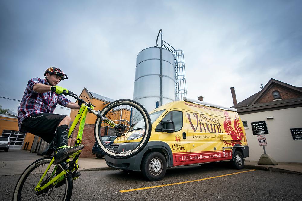 Urban mountain bike riding in Grand Rapids Michigan.