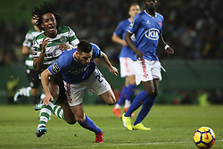 December 1, 2017 - Lisbon, Portugal - Sporting's forward Gelson Martins (L) vies with Belenenses's defender Florent Hanin during the Portuguese League  football match between Sporting CP and CF Belenenses at Jose Alvalade  Stadium in Lisbon on December 1, 2017. (Credit Image: © Carlos Costa/NurPhoto via ZUMA Press)