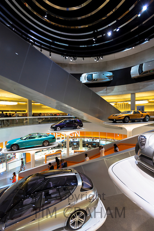 Mercedes-Benz concept cars in their museum gallery and showroom in Mercedesstrasse in Stuttgart, Bavaria, Germany