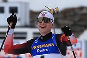 Johannes Thingnes Boe (NOR) at the Men 15 Km Mass Start during the IBU Biathlon World Championships, Sunday, Feb. 23, 2020, in Antholtz-Anterselva, Italy. (Pierre Teyessot-ESPA-Images/Image of Sport)