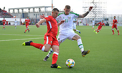 Gibraltar's Lee Casciaro (left) and Republic of Ireland's James McClean (right) battle for the ball during the UEFA Euro 2020 Qualifying, Group D match at the Victoria Stadium, Gibraltar.