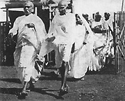Mohondas Karamchand Gandhi  (1869-1948), known as Mahatma (Great Soul). Indian Nationalist leader. Gandhi on his way to Congress, 1932