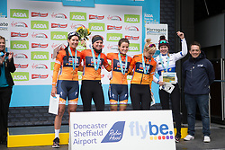 Boels-Dolmans Cycling Team riders celebrate winning the best team's title in the Tour de Yorkshire - a 122.5 km road race, between Tadcaster and Harrogate on April 29, 2017, in Yorkshire, United Kingdom.
