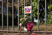 A memorial on park railings for a local cat, killed by a collision with a car on Herne Hill, south London borough of Lambeth, England.