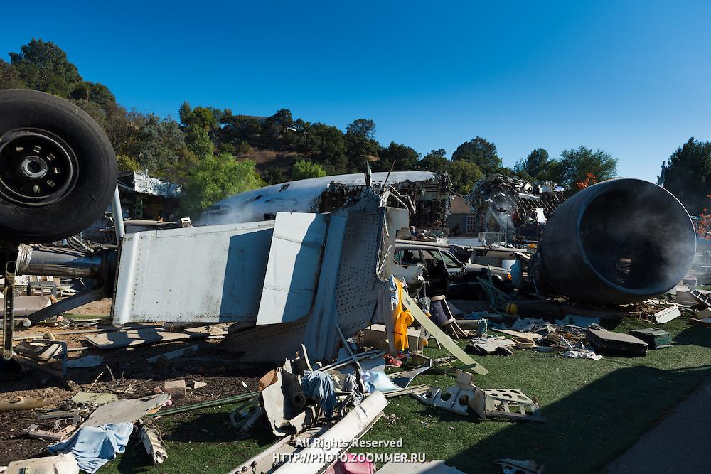 Airplane Crash Set War of the Worlds In Universal Studios Theme Park, Los Angeles, California
