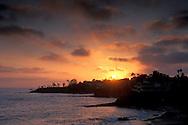 Sunset through summer fog along the coast at Laguna Beach Southern California