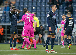Falkirk's Prince Buaben after Ayr United's Craig Moore scored their goal. Falkirk 0 v 1 Ayr United, Scottish Championship game played 3/11/2018 at The Falkirk Stadium.