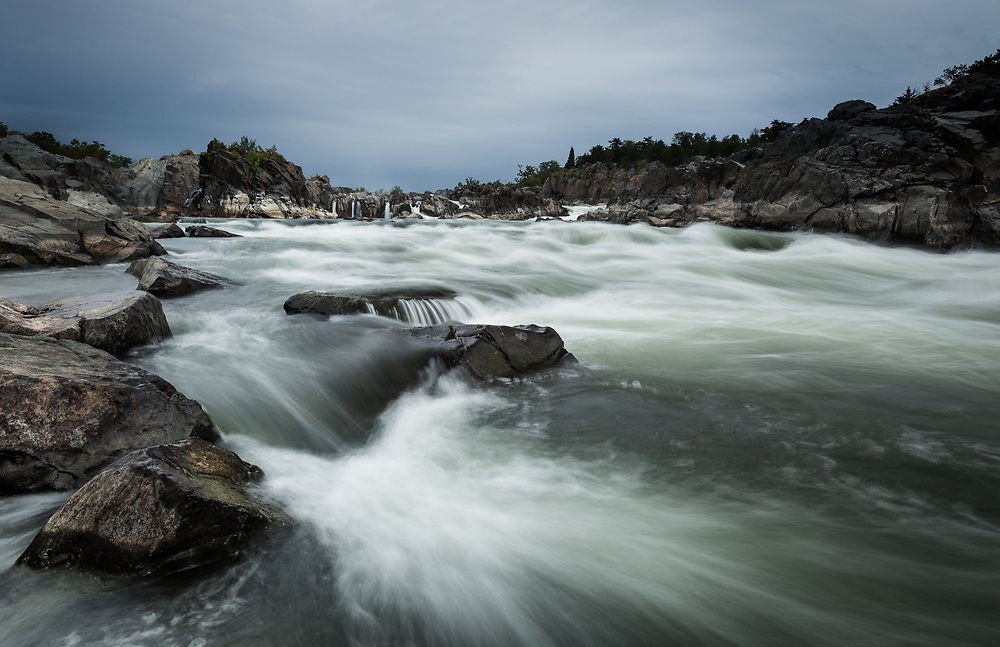 Just downstream of the falls at Great Falls National Park, VIrginia. A 1-second exposure.