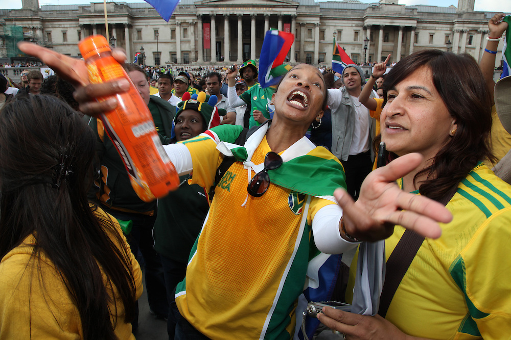 World Cup 2010 watched  on London TV<br /> S.Africa v Mexico, Trafalgar Square