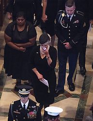 Mrs. Cindy McCain wipes away tears as she walks in the recessional ending the memorial service for her husband, the late United States Senator John S. McCain, III (Republican of Arizona), in the Washington National Cathedral in Washington, DC, USA on Saturday, September 1, 2018. Photo by Ron Sachs/CNP/ABACAPRESS.COM