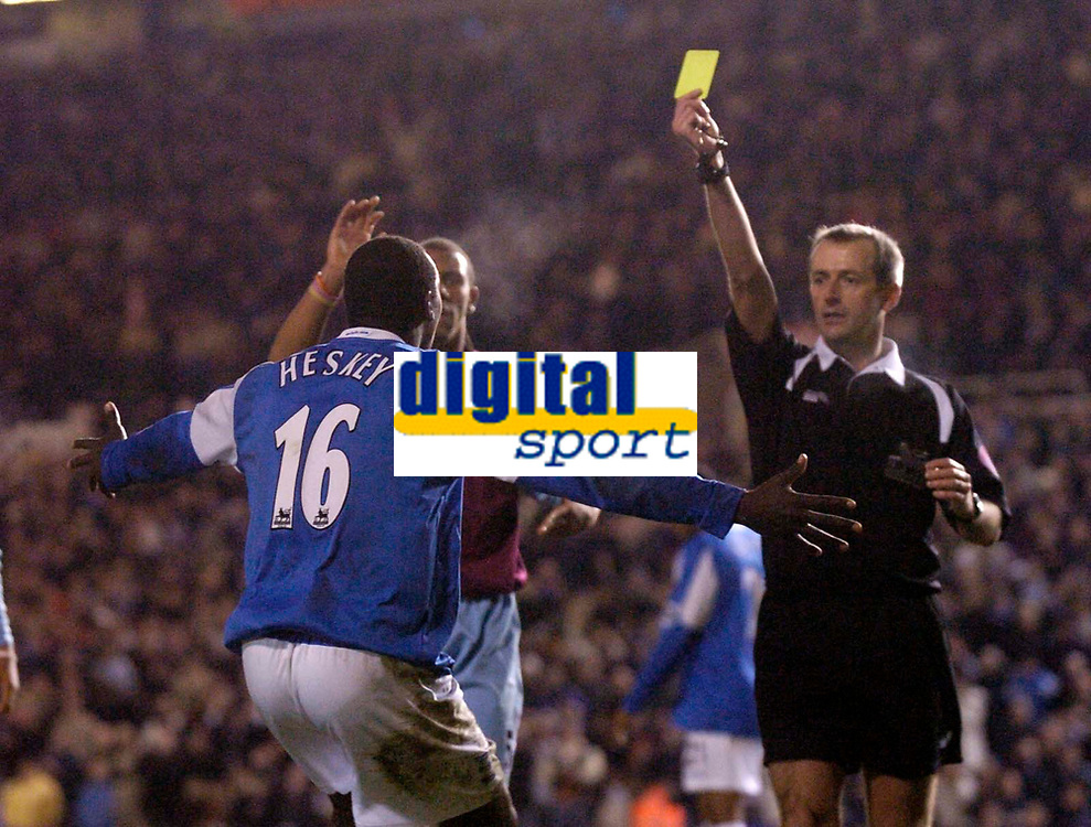 Photo: Glyn Thomas.<br />Birmingham City v West Ham United. The Barclays Premiership. 05/12/2005.<br /> Birmingham's Emile Heskey (L) thinks he has equalised but referee Mike Atkinson shows him the yellow card instead.