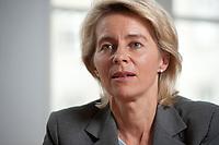 05 JUL 2010, BERLIN/GERMANY:<br /> Ursula von der Leyen, CDU, Bundesarbeitsministerin, waehrend einem Interview, in ihrem Buero, Bundesministerium fuer Arbeit<br /> IMAGE: 20100705-01-030<br /> KEYWORDS: Büro