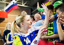 Tamara Mavsar of Slovenia celebrates after winning the handball game between Women National Teams of Slovenia and Switzerland in 2014 Women's European Championship Qualification, on March 30, 2014 in Arena Kodeljevo, Ljubljana, Slovenia. Photo by Vid Ponikvar / Sportida