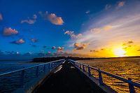 Sunrise, Mouli Bridge, Mouli, Island of Ouvea, Loyalty Islands, New Caledonia
