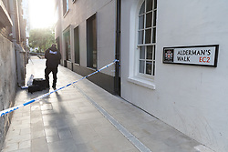 © Licensed to London News Pictures. 05/06/2018. London, UK.  City police crime scene investigater at the scene near Liverpool Street in the City of London where a man was stabbed on Alderman's Walk at around 6pm this evening. The man has been taken to the Royal London hospital.  Photo credit: Vickie Flores/LNP