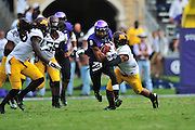 FORT WORTH, TX - SEPTEMBER 13:  Josh Doctson #9 of the TCU Horned Frogs is wrapped up by the Minnesota Golden Gophers on September 13, 2014 at Amon G. Carter Stadium in Fort Worth, Texas.  (Photo by Cooper Neill/Getty Images) *** Local Caption *** Josh Doctson