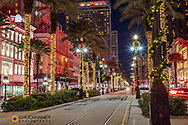 Festive Christmas Lights along Canal and Bourbon Streets in New Orleans, Louisiana, USA