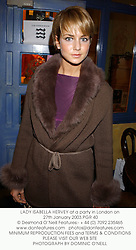 LADY ISABELLA HERVEY at a party in London on 27th January 2003.PGR 40