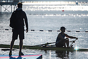 """Rio de Janeiro. BRAZIL.  SWE W1X, and coach, checks the hand position, and rigging set up, at the catch, before training at the 2016 Olympic Rowing Regatta. Lagoa Stadium,<br /> Copacabana,  """"Olympic Summer Games""""<br /> Rodrigo de Freitas Lagoon, Lagoa.   Saturday 13/08/2016 <br /> <br /> [Mandatory Credit; Peter SPURRIER/Intersport Images]"""